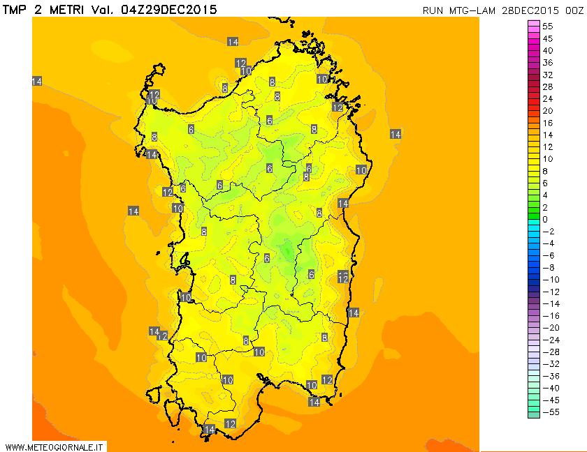 Le temperature previste per domani all'alba.