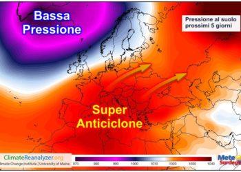 Un forte campo d'Alta Pressione ci accompagnerà nei prossimi 5-7 giorni.