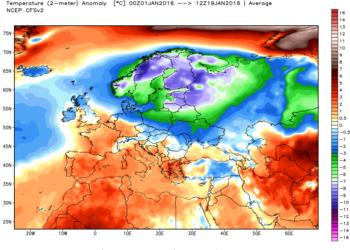 Le anomalie termiche in Europa dal giorno 01 al 19 gennaio 2016.