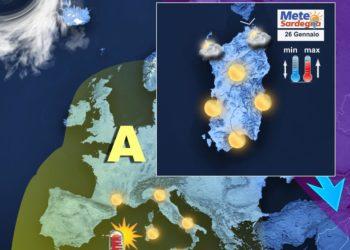 Il meteo di oggi, martedì 26 gennaio.