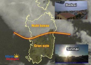 Fonte immagine Sat24, rielaborazione grafica a cura della Redazione del Meteo Sardegna. Fonte webcam meteosinnai.altervista.org/webcam.html