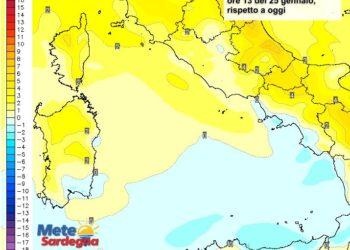 Le differenze di temperatura delle ore 13 del 25 gennaio, rispetto a oggi.