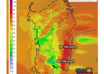 Raffiche di vento al suolo per le ore 23 di oggi, giovedì 07 gennaio.