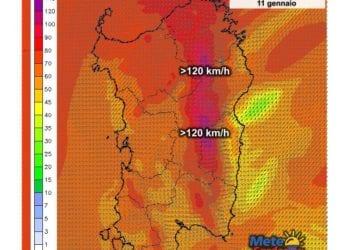 Le raffiche di vento al suolo alle ore 14 di oggi, lunedì 11 gennaio.