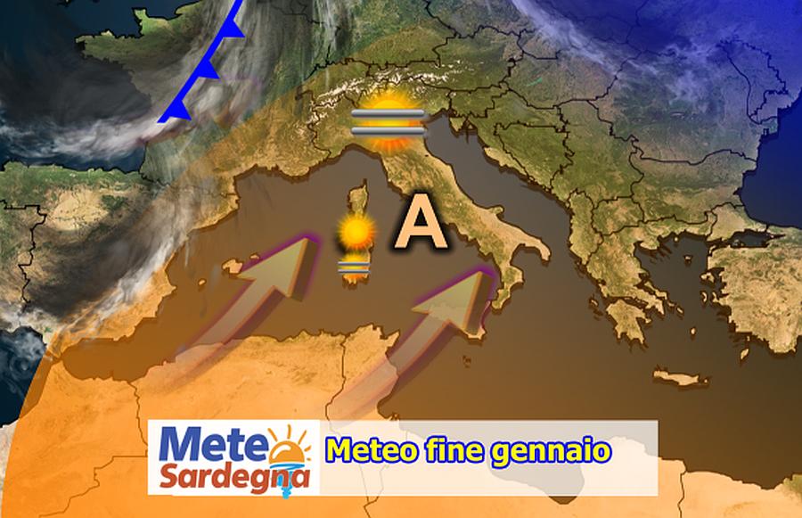 meteo fine gennaio - Anticiclone persistente e siccità in Sardegna. Ultime novità per febbraio