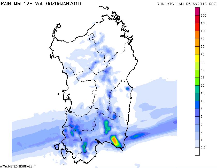 L'accumulo di pioggia dalle ore 12 alla prossima mezzanotte.