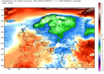 Le anomalie termiche di gennaio.