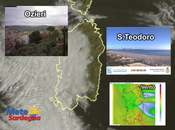 Le condizioni meteo delle prime ore del mattino in questa nostra rappresentazione grafica. Fonte Sat24, fonte webcam Ozieri ozieri440.altervista.org. | Fonte webcam santeodoroturismo.it