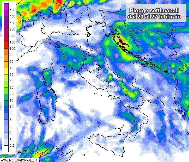 Le piogge attese nella settimana dal 20 al 27 febbraio.