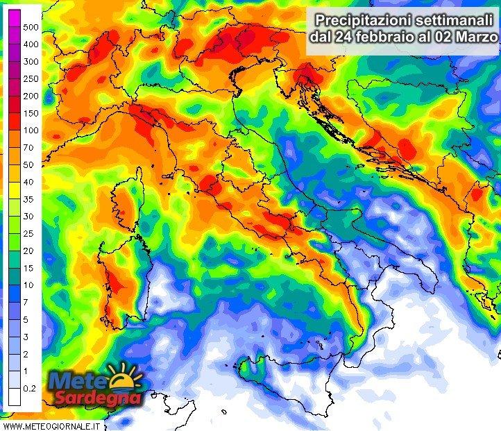 Le piogge settimanali dal 24 febbraio al 02 marzo.
