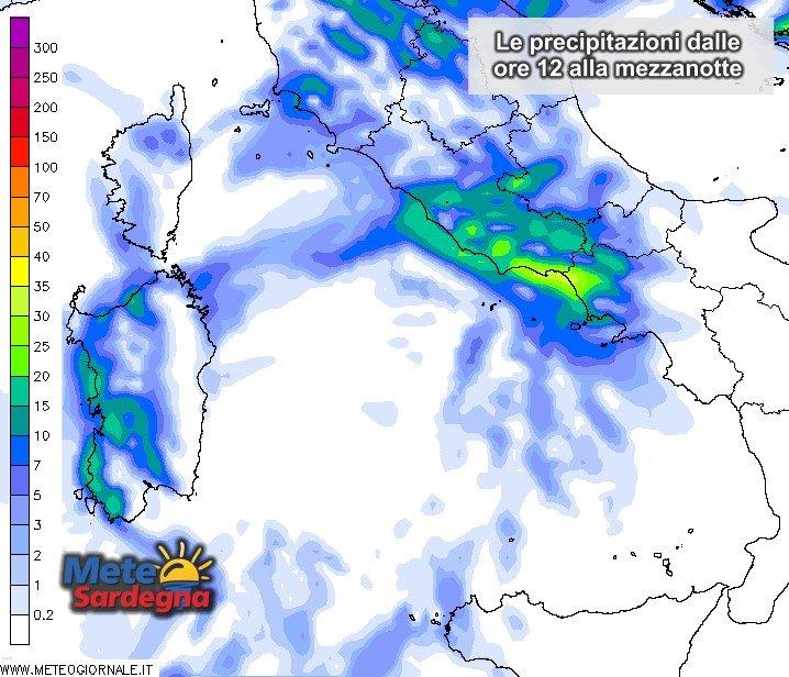 Piogge 4 - In Sardegna pioggia dal pomeriggio: più forti a ovest