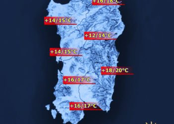 Le temperature massime di oggi, martedì 23 Febbraio.