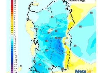 Le variazioni di temperatura delle ore 13 di mercoledì 03 Febbraio, rispetto a oggi.