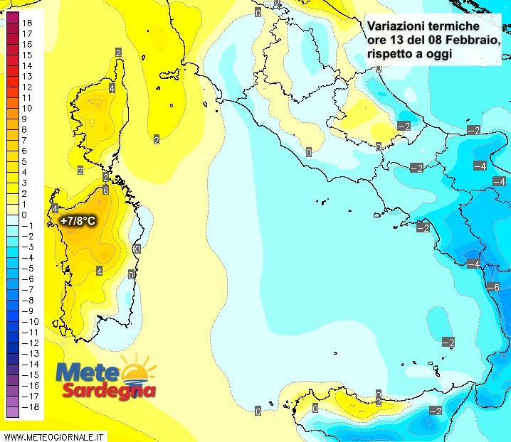 Le differenze di temperatura delle ore 13 del 21 febbraio, rispetto alla stessa ora di oggi.