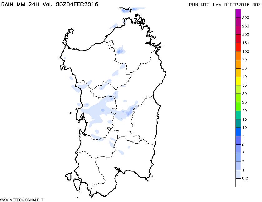 Le precipitazioni totali, in mm, per la giornata di mercoledì 03 Febbraio.