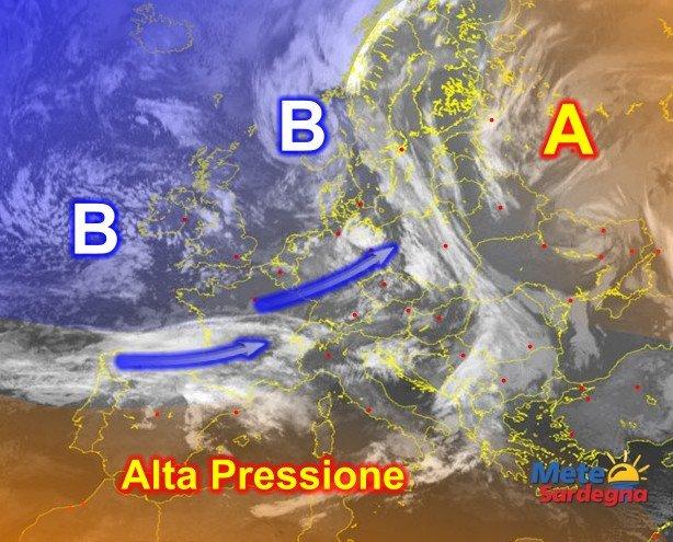 Fonte immagine Sat24, rielaborazione grafica a cura della Redazione del Meteo Sardegna.