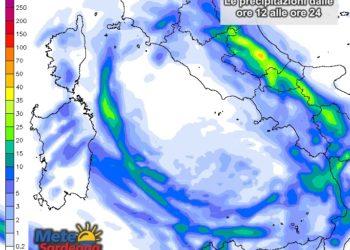 Le precipitazioni attese dalle ore 12 alla mezzanotte del 10 marzo.