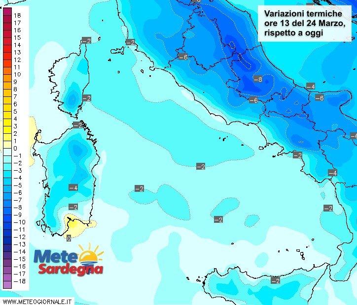 Le variazioni di temperatura delle ore 13 del 24 marzo, rispetto a oggi.