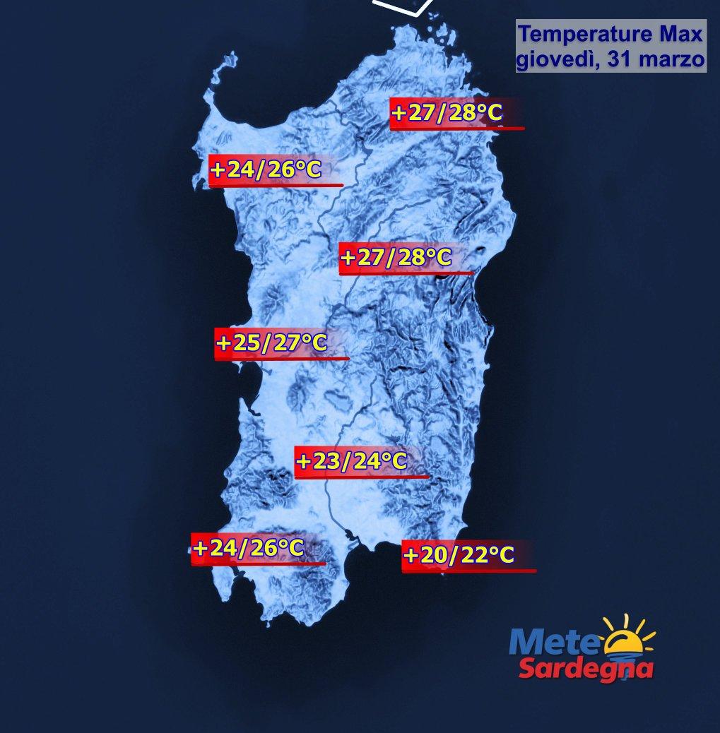 Temperature 31 marzo - Giovedì 31 marzo sfioreremo 30°C