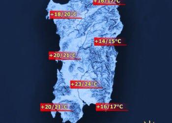 Le temperature massime di lunedì 21 marzo.
