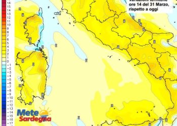 Le variazioni di temperatura delle ore 14 del 31 marzo, rispetto alla stessa ora di oggi.