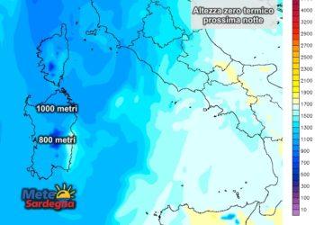 Altezza zero termico alle ore 02 di mercoledì 09 marzo.