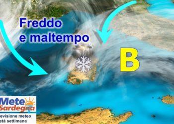 sardegna maltempo inverno pioggia neve 350x250 - Meteo 7 giorni, inverno soffocato dall'anticiclone. Sole e rialzo termico