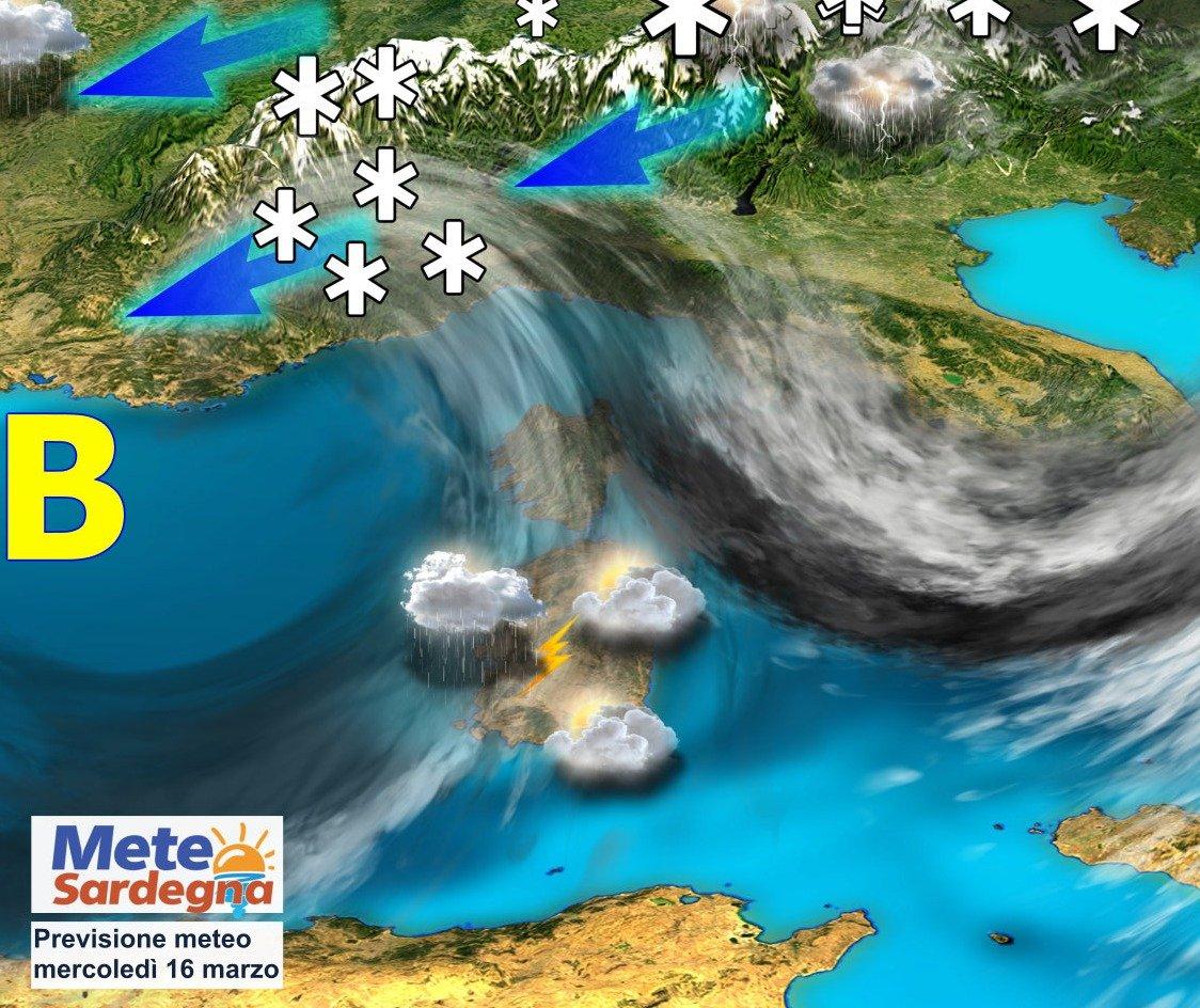 sardegna piogge temporali marzo - Ulteriori piogge,temporali, neve sui monti: meteo perturbato metà settimana
