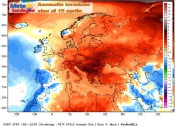 Le anomalie termiche continentali della prima metà di aprile.