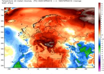 Le anomalie termiche della prima settimana di aprile.