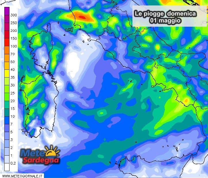 Piogge 3 - Forte maltempo del 1° maggio: in dettaglio le piogge previste