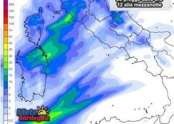 Le piogge dalle ore 12 alla mezzanotte del 01 maggio.