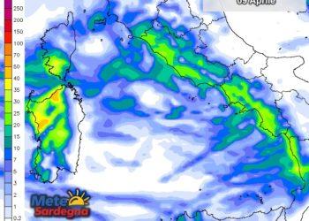 Le precipitazioni nella giornata di sabato 09 Aprile.