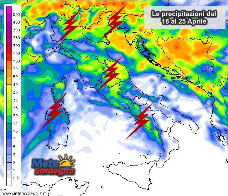 Le piogge nella settimana che va dal 18 al 25 aprile 2016.