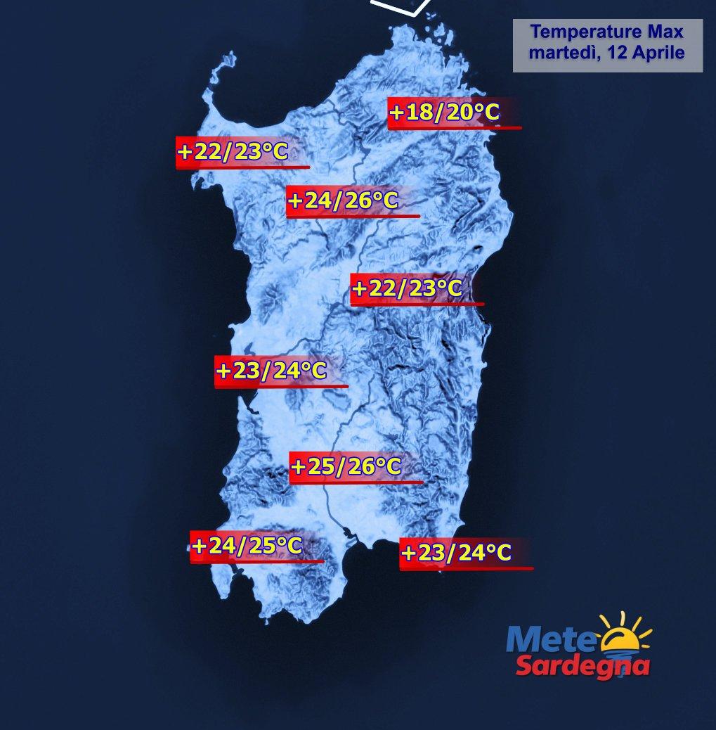 Le temperature massime di oggi, martedì 12 Aprile 2016.