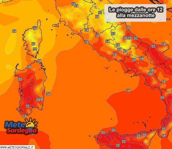 Le temperature massime di oggi.