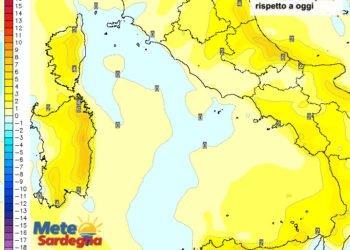 Le variazioni di temperatura delle ore 14 di sabato 16 aprile, rispetto a oggi.