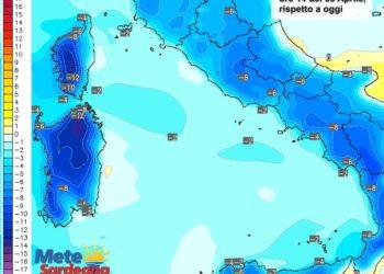 Le variazioni di temperatura alle ore 14 di venerdì 08 aprile, rispetto alla stessa ora di oggi.