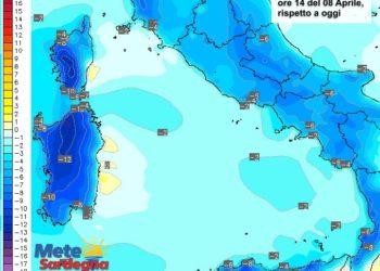 Le variazioni di temperatura delle ore 14 di venerdì 08 aprile, rispetto a oggi.
