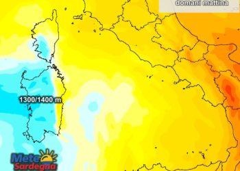 La quota dello zero termico nelle prime ore di domani.