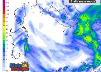Le piogge previste dalle ore 12 alla prossima mezzanotte.