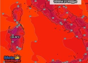 Le temperature massime previste per la giornata di venerdì 27 maggio.