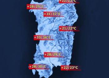 Le temperature massime di giovedì 26 maggio.