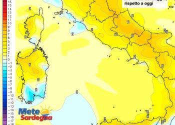 Le variazioni di temperature delle ore 14 del 09 maggio, rispetto a oggi.