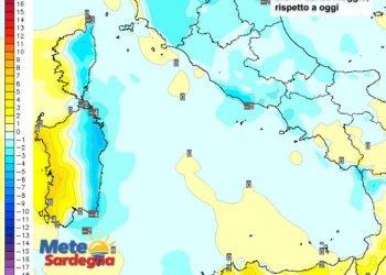 Le variazioni di temperatura delle ore 14 del 05 maggio, rispetto alla stessa ora di oggi.