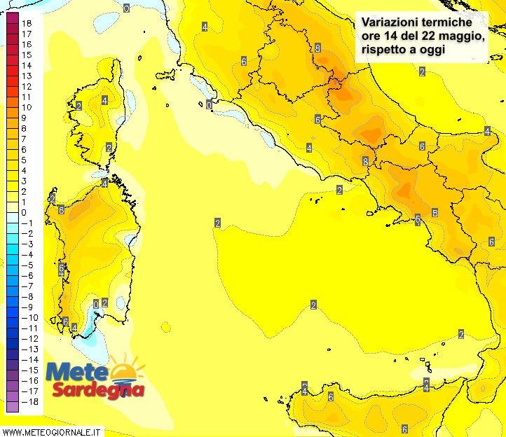Le variazioni di temperatura delle ore 14 di domenica 22 maggio, rispetto alla stessa ora di oggi.