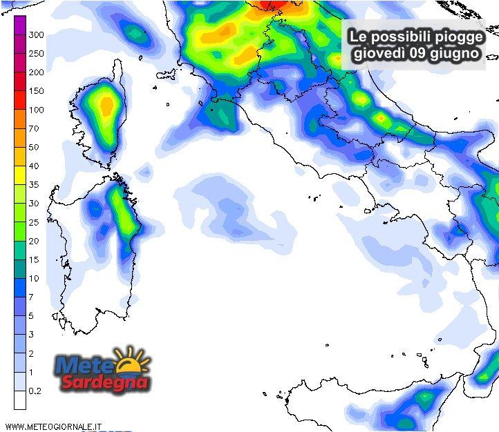 Le possibili precipitazioni giovedì 09 giugno.