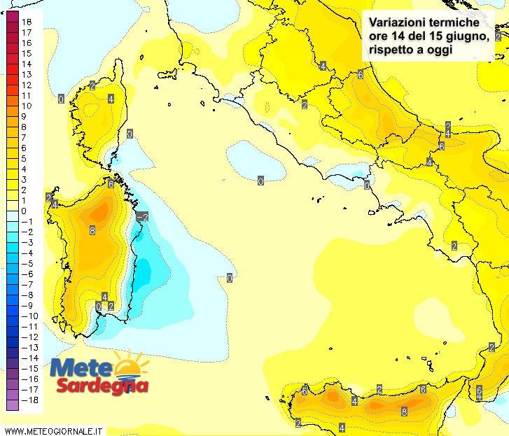 Le variazioni termiche delle ore 14 del 15 giugno, rispetto alla stessa ora di oggi.