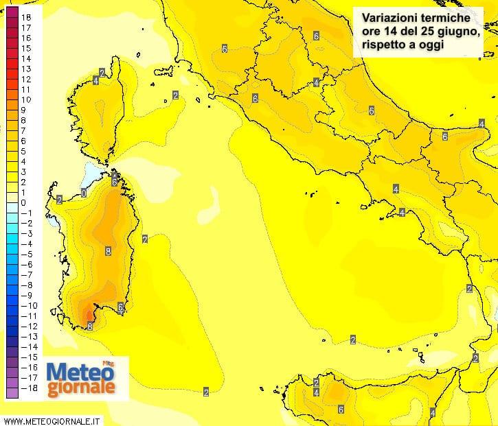 Le variazioni termiche delle ore 14 del 25 giugno, rispetto alla stessa ora di oggi.