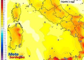 Le variazioni termiche delle ore 14 del 16 giugno, rispetto alla stessa ora di oggi.